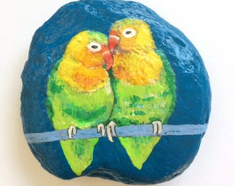 Lovebirds painted rock paperweight