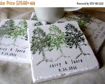 SALE Pine Tree Coasters - Personalized Couple Gift - Set of 4