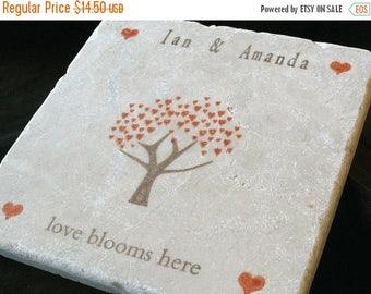 XMASINJULYSale Personalized Autumn Family Heart Tree Trivet - Personalized Family Keepsake