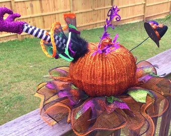 SALE - Orange Pumpkin Witch Hat Legs Skirt - Fall Halloween Centerpiece