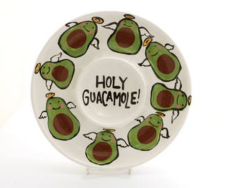 Holy Guacamole, chip and dip platter, funny gift, avacados, ceramic serving piece, home and living, wedding gift, summer