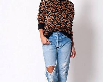 40% SUMMER SALE The Vintage Metallic Leopard Print Crewneck Sweater