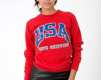 "40% OFF The Vintage Red ""USA Rope Skipping"" 50/50 Crewneck Sweatshirt"