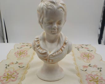 Girls Head Figural - French Cottage - Ceramic - Statue - Darling - Vintage