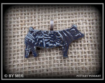 """Show Pig, Hog Jewelry, Glazed Earthenware Pottery Ceramic Pendant Approx  2"""" Wide"""