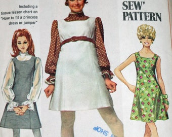 """Vintage 1960s Sewing Pattern, Simplicity 8008, Misses' Jumper or Dress and Blouse, Misses' size 12, Bust 34"""", UNCUT"""