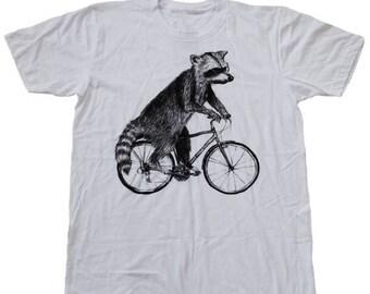 SUMMER SALE Raccoon on a Bicycle - Mens T Shirt, Unisex Tee, Cotton Tee, Handmade graphic tee, Bicycle shirt, Bike Tee, sizes xs-xxl