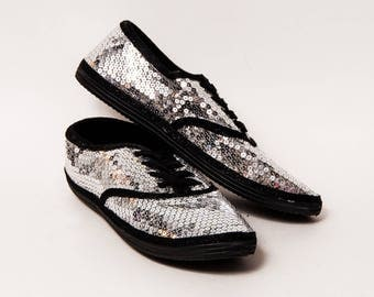 Ready 2 Ship - Size 11 WMNS Silver Over Black Sequin Canvas Sneakers Shoes