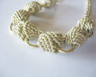 Choker Necklace, Aluminum, Eloxal, 16 inches, Braided Knots, Rope Look, Goldtone, 1940s, Made in Germany