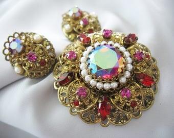 Filigree Rhinestone Brooch and Earrings, West Germany, 1950s, Red Pink Aurora Borealis, Pearls, Clip on Earrings