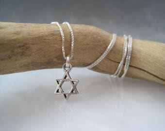 Tiny Star of David - Contemporary Sterling Jewish Star - Religious Necklace - Bat Mitzvah Jewelry - Meaningful - Memorial