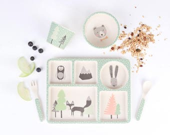 Bamboo Dinnerware - Fox and Friends - (FDA & LFGB food safe approved)