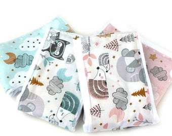 SALE Woodland Burp Cloths // Pink Gray Blue - Set of 4 // Cotton Burp Cloth // Adventure Nursery //  Baby Shower Gift // Gift For Baby