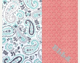 SALE Minky Baby Blanket Girl, Gray Mint Coral Paisley Personalized Baby Blanket - Nursery Decor / Coral Baby Blanket / Name Baby Blanket