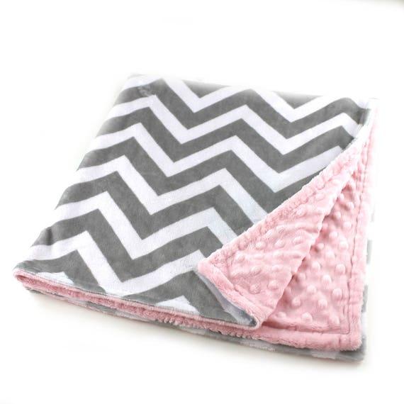 Minky Adult Blanket, Personalized Blanket - Silver Gray Pink Throw - Twin Size // Chevron Blanket // Soft Blanket // Geometric Blanket