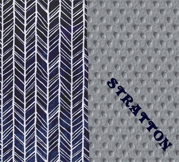 Adult Minky Blanket 60 x70,  Personalized Blanket - Gray Navy Herringbone Blanket / Twin Blanket / Minky Throw Blanket / navy throw