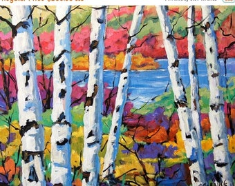 On Sale Canadian Birches Original Painting by Prankearts