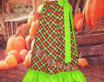SALE Girls Dress 6/7 Green, Purple, Red Pillowcase Dress, Pillow Case Dress, Sundress, Boutique Dress