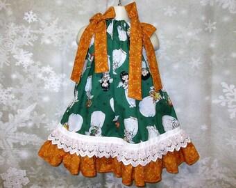 Girls Christmas Dress 2T/3T Green Gold White Angels Pillowcase Dress, Pillow Case Dress, Sundress, Boutique Dress