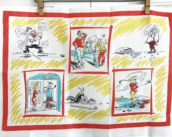 Vintage Golf Towel Pure Irish Linen Cartoons Sports Wall Hanging Gift for Father's Day Man Dude