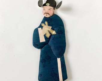 Vintage Asian Man Souvenir Silk Kimono Hand Painted Face Die Cut