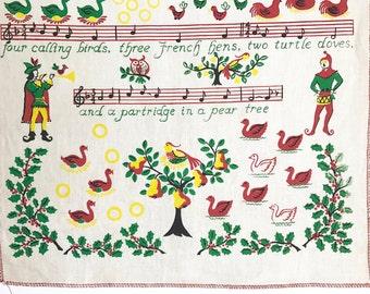 Vintage Wall Hanging Twelve Days of Christmas Textile Art Midcentury