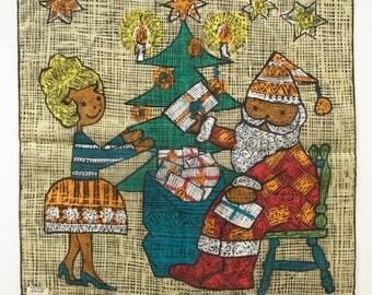 Novelty Handkerchief Santa Claus Skandia Design Christmas Tree Gifts Presents