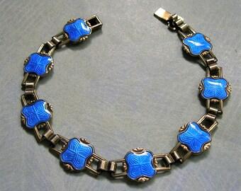 Vintage Sterling Norway Bracelet, Vintage 1950's Sterling Enamel Bracelet, Sterling Enamel Bracelet, Vintage Enamel Bracelet (#3284)