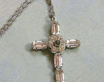Vintage Sterling Rhinestone Stanhope Cross With the Lord's Prayer, Old Stanhope Cross, Vintage Rhinestone Cross (#3114)