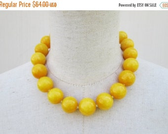 Memorial Day SALE Chunky Bright Dark Yellow Beaded Necklace, Goldenrod Gemstone Beads Choker