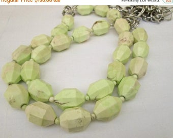 XMAS in JULY SALE Lemon Lime Chunky Natural Australian Chrysoprase  Beaded Chain Necklace