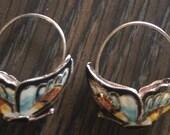 Beautiful Sterling Silver Enamel Butterfly Hoop Earrings