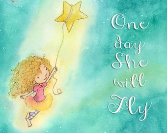 One Day She Will Fly - Girl with Blonde Curly Hair and Fair Skin - Art Print