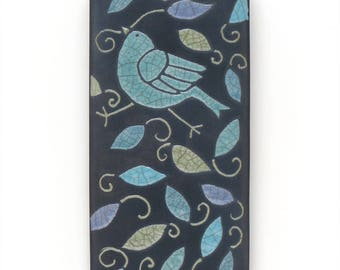 Bird,Ceramic tile,Whimsical, handmade, wall art, home decor 3x6 inch raku fired art tile
