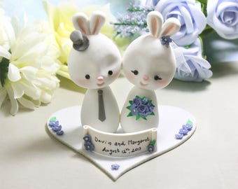 Wedding cake toppers Bunnies + base - bride groom figurines rabbit cornflower blue personalized elegant rustic country white farm animal