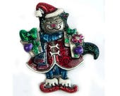 1990s American Jewelry Company Glitter Enamel Mrs Santa Cat Kitty Pewter Tone Metal Christmas Holiday Vintage Cat Lovers Figural Pin Brooch