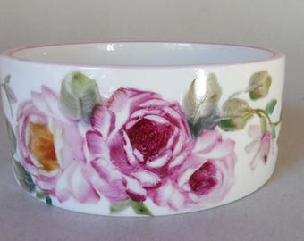 Small Pink Rose Straight Side Pet Bowl