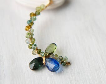 Green Tourmaline Crescent Necklace, Grass Green Pendant, Moon Jewelry, Delicate Necklace