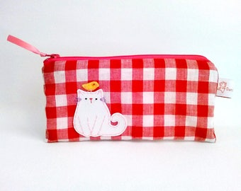 Red gingham pencil case pencil pouch cat zipper pencil pouch cat lady gift school supply cute pouch stocking stuffer christmas gift
