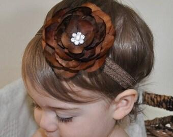 SUMMER SALE Baby Headband - Infant Headband - Newborn Headband - Toddler Headband - Brown Flower on Brown Stretch Headband Photography Prop