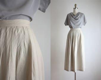 natural linen crinkle midi skirt
