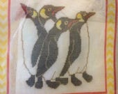 """It's Polite to Point Canvas Work Needlepoint Project Kit - Penguins - Finished Size 10"""" by 10"""""""