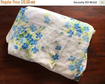 Christmas Sale Vintage Twin Sheet Floral Fitted Blue Green Bedding
