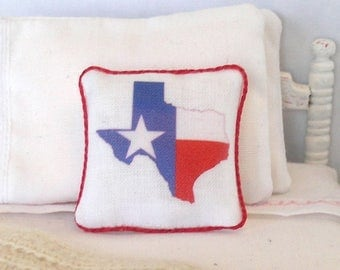 1:12 Pillow - Texas Our Texas - Handmade Dollhouse Scale Miniature - Shabby Cottage **Free Shipping**