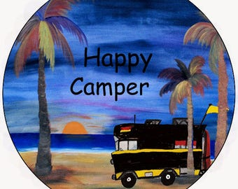 RV Happy Camper camper car coasters from my art set of 2