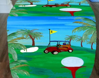 Tee time golf design cube ottoman from my art