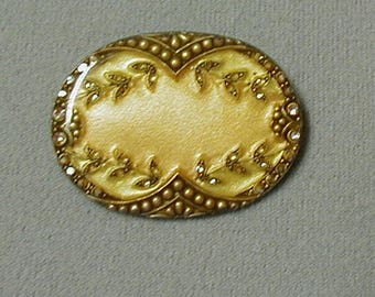 Unsigned Catherine Popesco Gold and Rhinestone Brooch