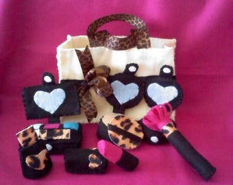 Flash Sale Pretend Makeup - Black, Ivory, and Leopard Print Felt Makeup Set with Eye Shadow - pretend play - makeup party