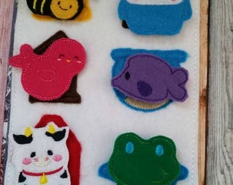 Back to school sale Felt Quiet Book Page - Animal home match game -  Homes Activity Page - learning - education - Habitat - Frog, Bird, Bird