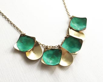Verdigris and Brass Drops Necklace